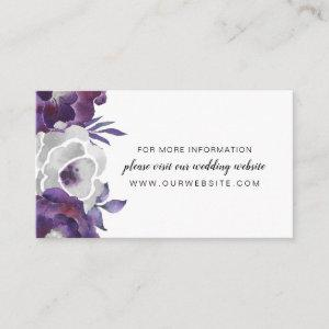 Trendy Purple Silver Floral wedding website info Enclosure Card starting at 0.30