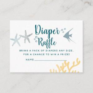 Trendy Under the Sea Baby Shower Diaper Raffle Enclosure Card starting at 0.35