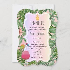 Tropical BRIDAL SHOWER Pineapple Palm Leaves PINK Invitation starting at 2.76