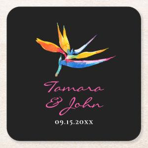 Tropical Dark Floral Bird of Paradise Wedding Square Paper Coaster starting at 1.35