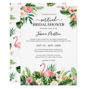 Tropical Flamingo and Floral Virtual Bridal Shower Invitation starting at 2.40