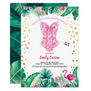 Tropical flamingo lingerie shower bridal party invitation starting at 2.40