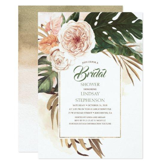 Tropical Flowers and Dried Palm Leaf Bridal Shower