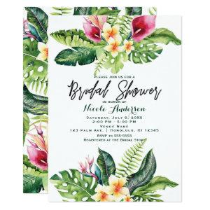 Tropical Flowers & Leaves Floral Bridal Shower Invitation starting at 2.61