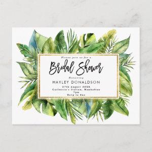 tropical jungle faux gold bridal shower invitation starting at 1.80