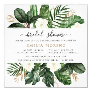 Tropical Modern Palm Cactus White Floral Bridal Invitation starting at 2.30