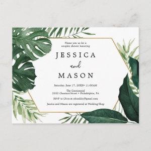 Tropical Monstera Couples Shower Invitation Postcard starting at 1.15