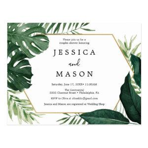 Tropical Monstera Couples Shower Invitation Postcard starting at 1.10