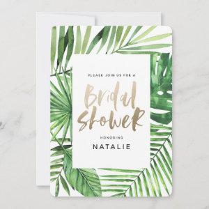 Tropical palm and gold script bridal shower invite starting at 2.66