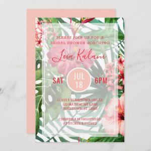 Tropical Palm Leaves Hibiscus Bridal Shower Invitation starting at 2.40