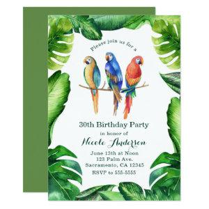 Tropical Parrots Birds & Leaves Party Invitatons Invitation starting at 2.77