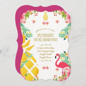Tropical Pineapple Birthday Pink Flamingo ANY AGE Invitation starting at 2.76