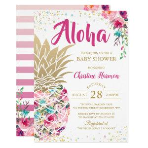 Tropical Pineapple Pink Gold Floral Baby Shower Invitation starting at 2.35
