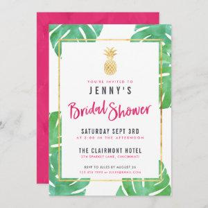 Tropical Pink & Gold Pineapple Bridal Shower Invitation starting at 2.98