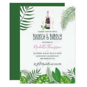 Tropical Watercolor Brunch & Bubbly Bridal Shower Invitation starting at 2.66