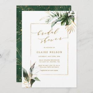 Tropical Watercolor Leaves Gold Bridal Shower Invitation starting at 2.51