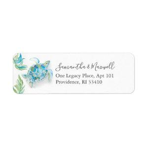 Tropical Watercolor Sea Turtle Address Labels starting at 3.10