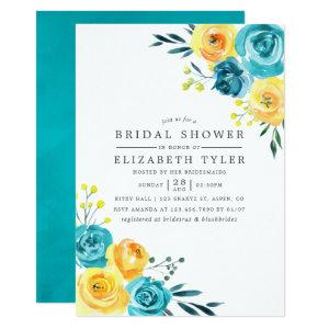Turquoise and Yellow Floral Bridal Shower invite starting at 2.66