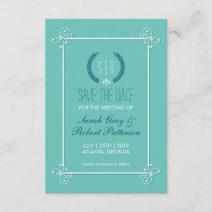 Turquoise Blue Medieval Wedding Save The Date Card starting at 2.31