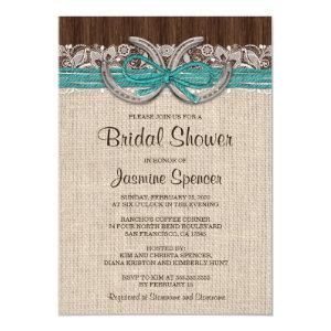 Turquoise Brown Horseshoe Bridal Shower Invitation starting at 2.65