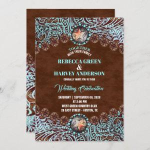 turquoise brown leather country western wedding invitation starting at 2.65