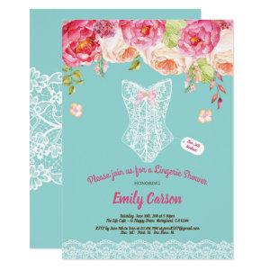 Turquoise lace lingerie shower bridal party invitation starting at 2.25