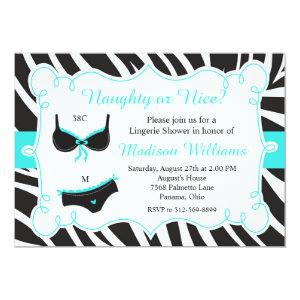 Turquoise Naughty or Nice Lingerie Bridal Shower Invitation starting at 2.66