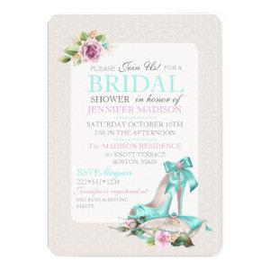 Turquoise & Pink Bridal Shower Shoe & Rose Invitation starting at 2.75