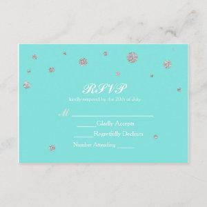 Turquoise & Silver Glitter Confetti RSVP starting at 2.01