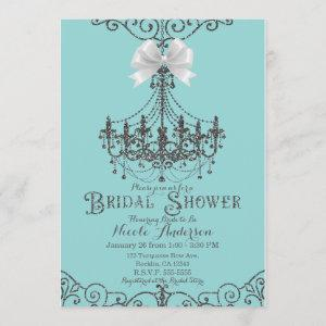 Turquoise & Silver White Bow Bridal Shower Invitation starting at 2.66