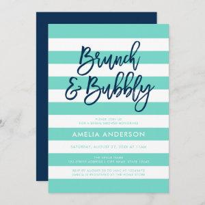 Turquoise Stripes Blue Brunch Bubbly Bridal Shower Invitation starting at 2.51
