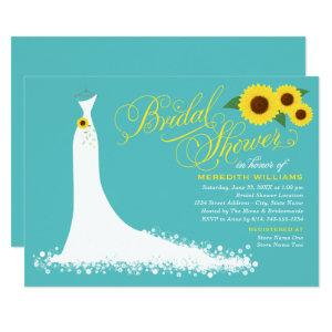 Turquoise Sunflower Wedding Gown Bridal Shower Invitation starting at 2.51