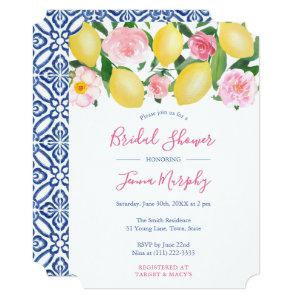 Tuscan Lemons Pink Watercolor Floral Bridal Shower Invitation starting at 2.61