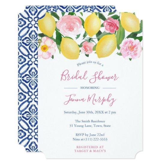 Tuscan Lemons Pink Watercolor Floral Bridal Shower Invitation