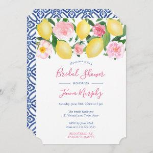 Tuscan Lemons Pink Watercolor Floral Bridal Shower Invitation starting at 2.91