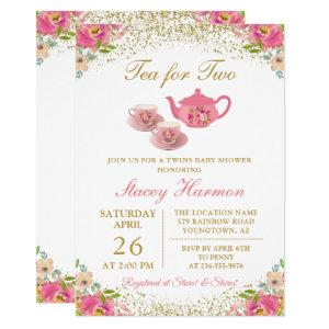 Twin Girls Tea Party Pink Gold Floral Baby Shower Invitation starting at 2.40