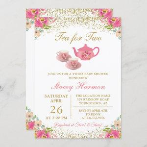 Twin Girls Tea Party Pink Gold Floral Baby Shower Invitation starting at 2.35