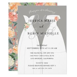 Two Brides Wedding Dress Lesbians Couples Shower Invitation starting at 2.40