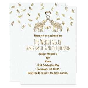Two Elephants & Heart Gold Fall Wedding Invitation starting at 2.82