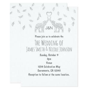 Two Elephants Heart Silver Fall Wedding Invitation starting at 2.82