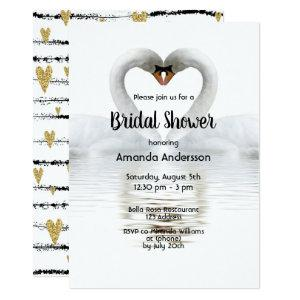 Two swans in love white bridal shower invitation starting at 2.51