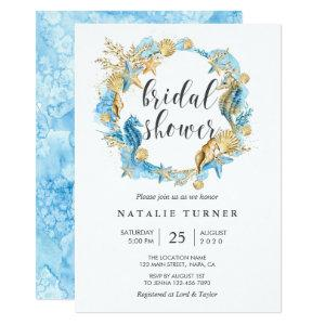 Under the Sea Blue & Gold Bridal Shower Invitation starting at 2.51