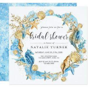 Under the Sea Blue & Gold Bridal Shower Invitation starting at 2.41
