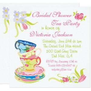 Victorian Stacked Tea Cups Tea Party Bridal Shower Invitation starting at 2.41