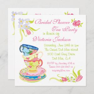 Victorian Stacked Tea Cups Tea Party Bridal Shower Invitation starting at 2.35