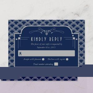 Vintage 1920's Art Deco Gatsby Wedding Collection RSVP Card starting at 2.01