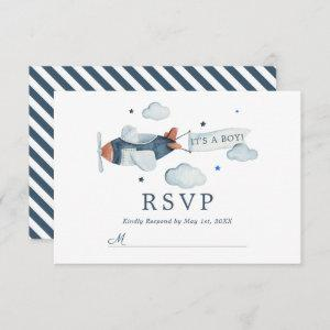 Vintage Airplane It's A Boy Baby Shower RSVP Card starting at 2.01