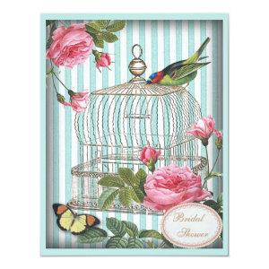 Vintage Bird, Cage, Butterfly, Roses Bridal Shower Invitation starting at 2.31