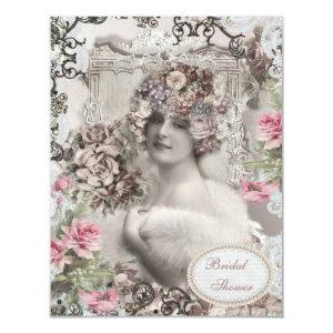 Vintage Bride with Jewels & Flowers Bridal Shower Invitation starting at 2.31