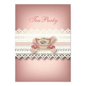 vintage country lace pink  floral teacup tea party invitation starting at 2.77